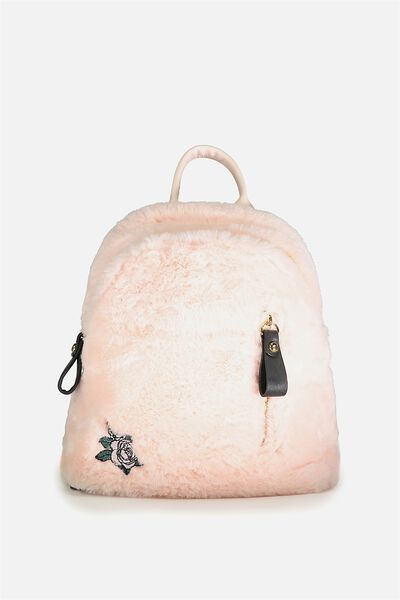 Santa Fe Backpack, BLUSH FAUX FUR