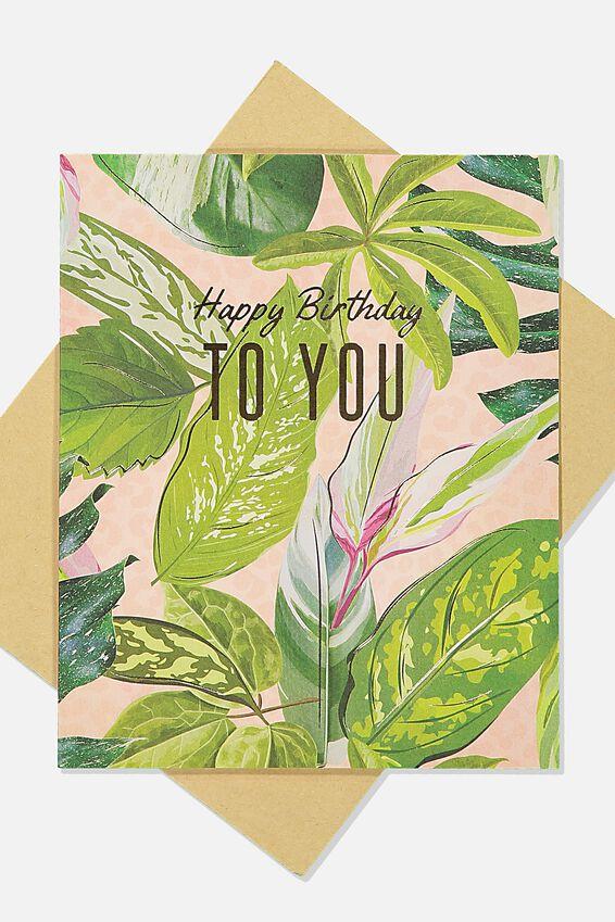 Nice Birthday Card, PINK GREEN LEAF