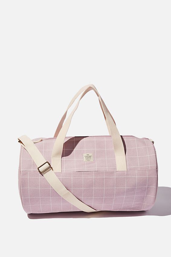 Canvas Barrel Bag, HEATHER GRID