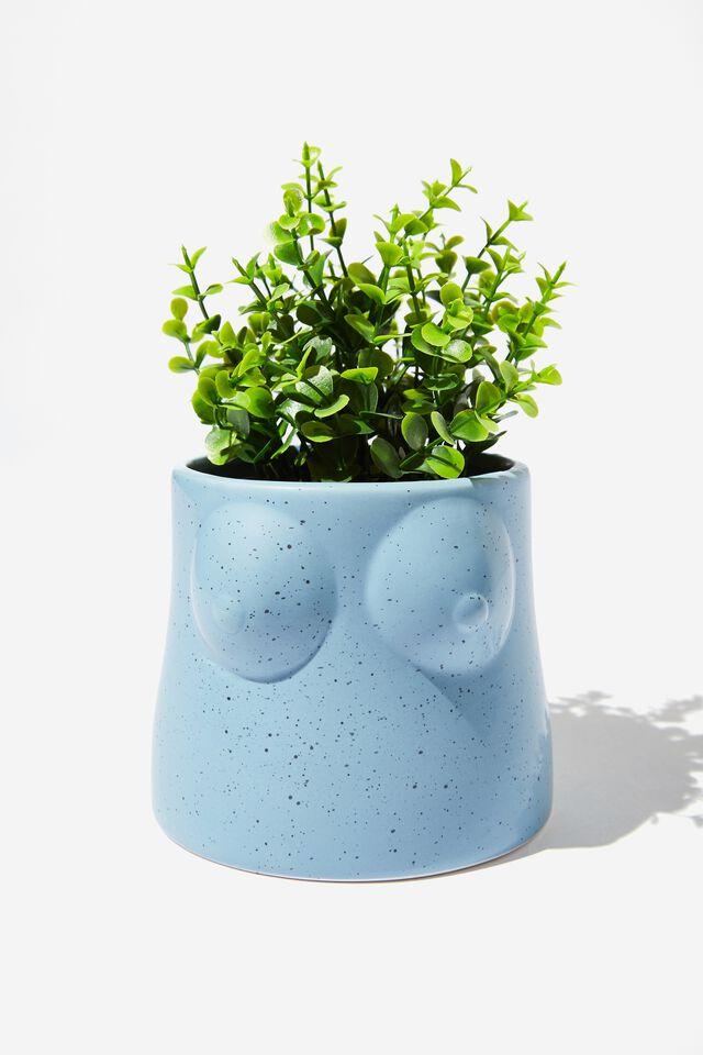 Midi Shaped Planter, DUSTY BLUE BOOBS!