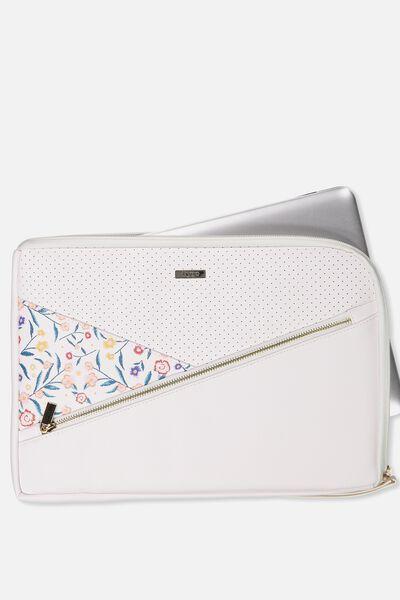 "Premium Laptop Case 13"", WHITE & FLORAL"