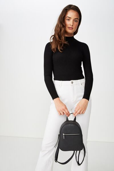 Mini Arch Backpack, BLACK WITH ZIPPER