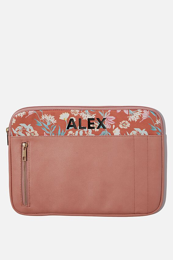 """Take Charge 13"""" Laptop Cover Personalised, DUSTY PINK"""