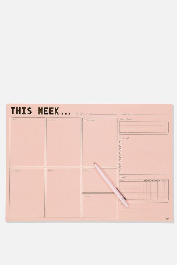 A3 Plan Ahead Planner, PINK THIS WEEK
