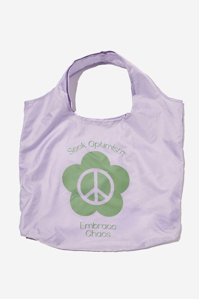 Foldable Shopper Tote Bag, SEEK OPTIMISM