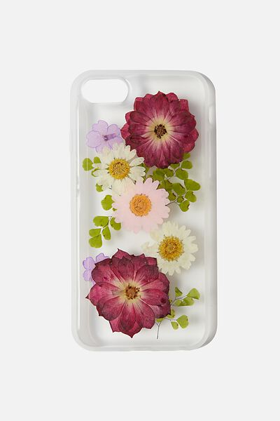 Protective Phone Case 6, 7, 8, SE, TRAPPED DAISY WITH PINK & PURPLE FLOWERS