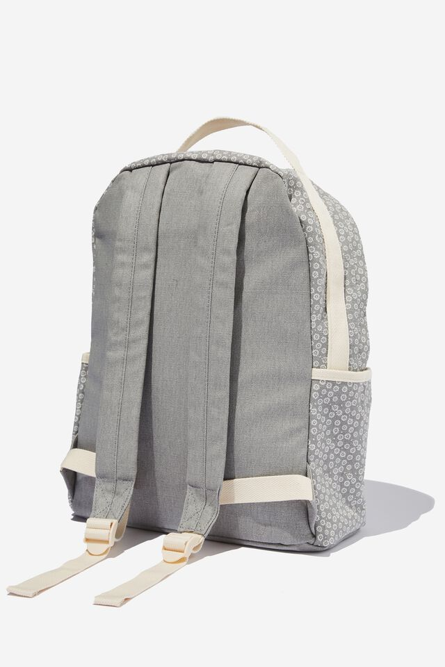 Alumni Backpack, STAMPED DAISY GREYSCALE