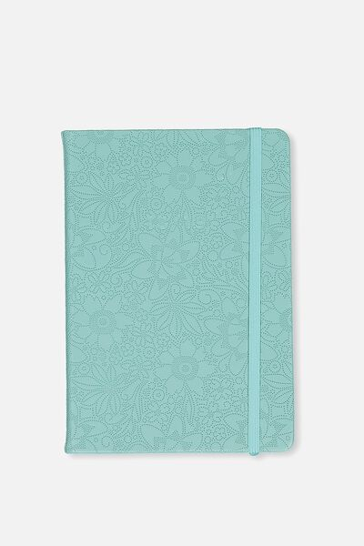 2018 19 A5 Daily Buffalo Diary, BLUE EMBOSSED FLORAL