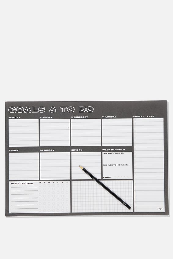 A3 Extra Large Plan Ahead Planner, BLACK GOALS & TO DO