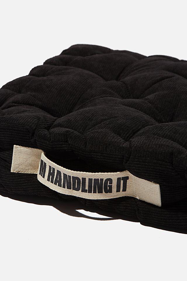 Floor Cushion, BLACK CORDUROY