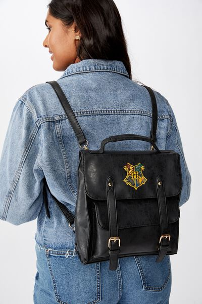 Buffalo Satchel Backpack, LCN WB HPO BLACK HOGWARTS CREST
