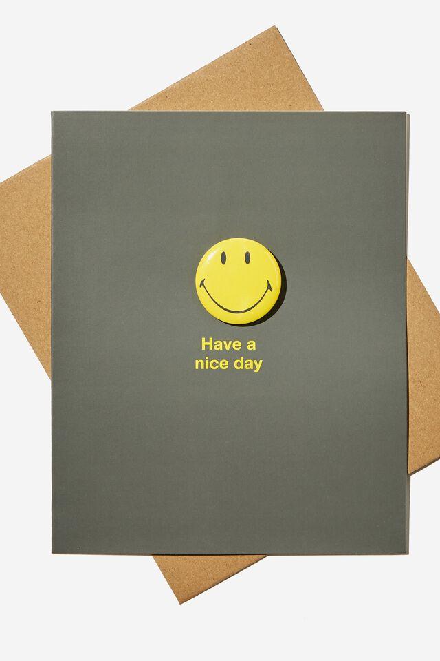 Smiley Premium Badge Card, LCN SMI SMILEY HAVE A NICE DAY