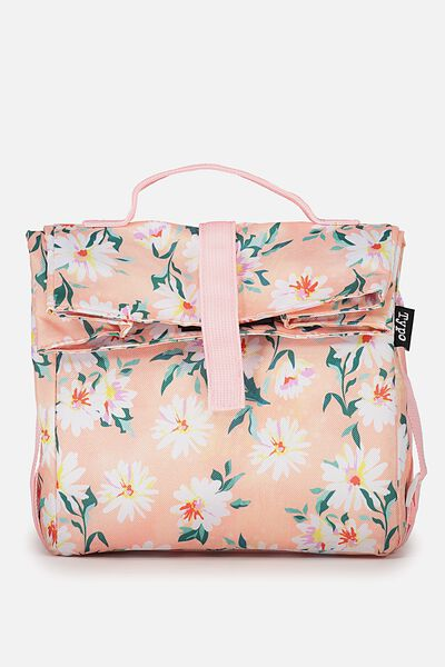 Rolled Lunch Bag, PINK FLORAL