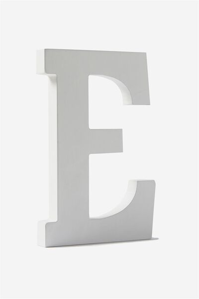 Letterpress Wooden Letter, WHITE E