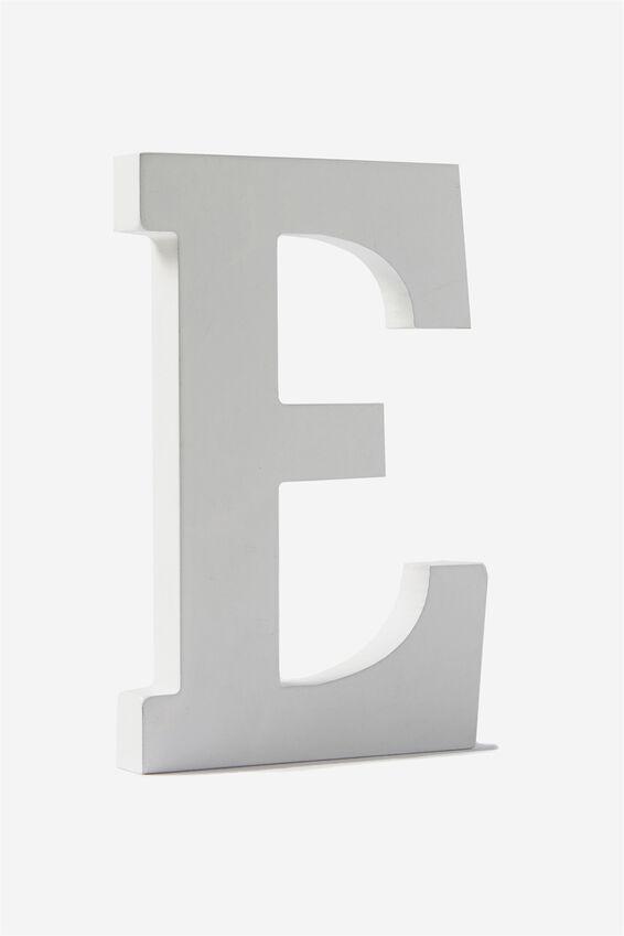 Letterpress Wooden Letter, WHITE E