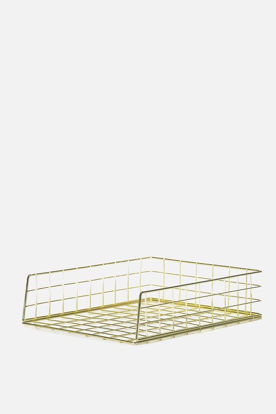 Metal Storage Desk Tray, GOLD WIRE