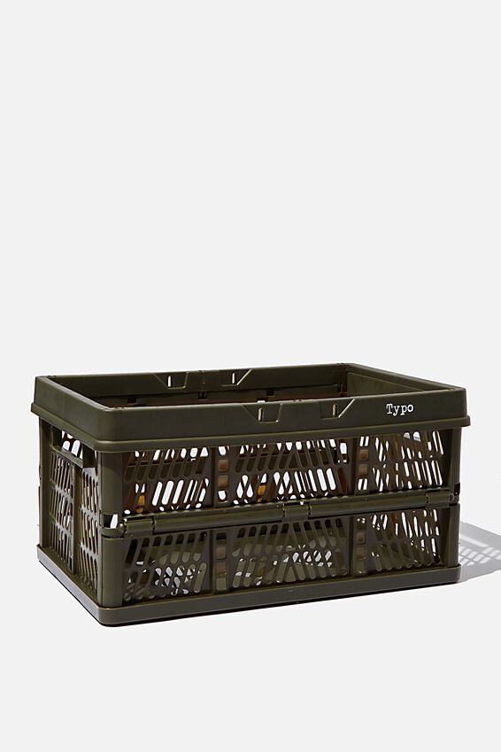Midi Foldable Storage Crate, KHAKI