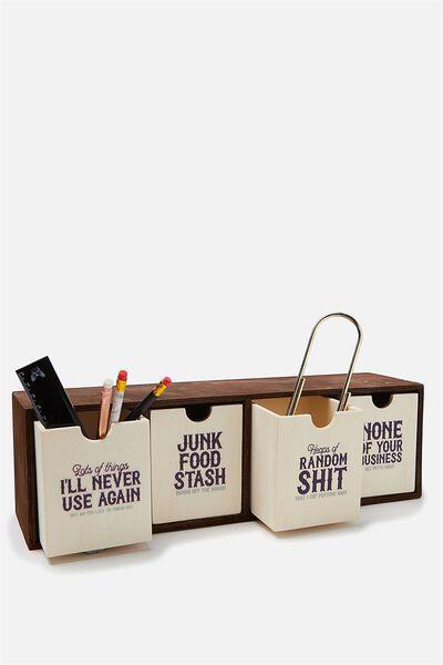Quick Desk Drawer Storage, VINTAGE 7 WOOD GRAIN!