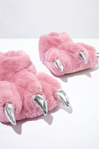 Novelty Slippers, PINK DINO FEET