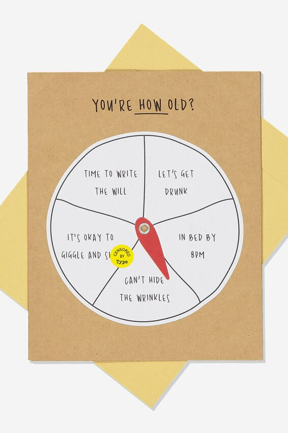 Premium Funny Birthday Card, AGE SPINNER