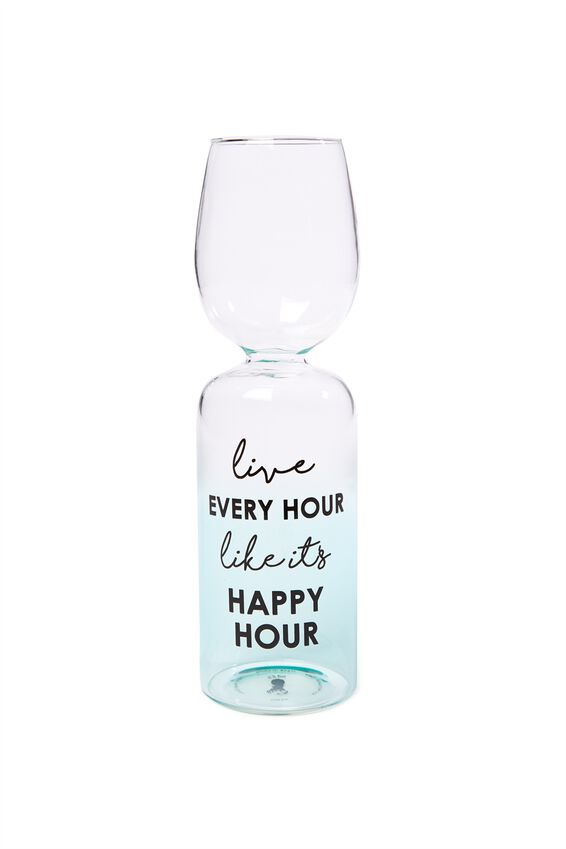 Novelty Wine Glass, HAPPY HOUR