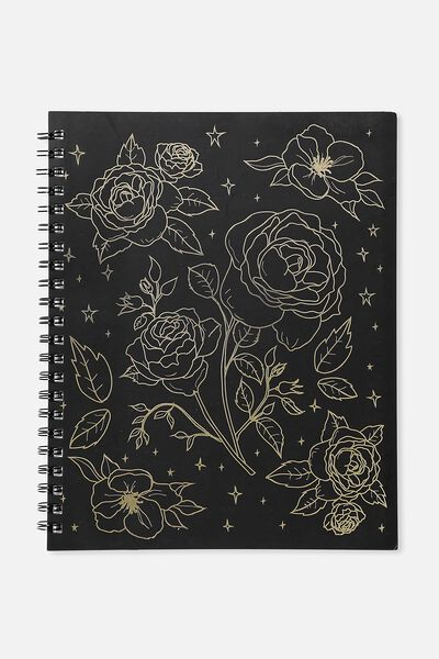 Large Campus Notebook - 240 Pages, BLACK FOIL FLORAL