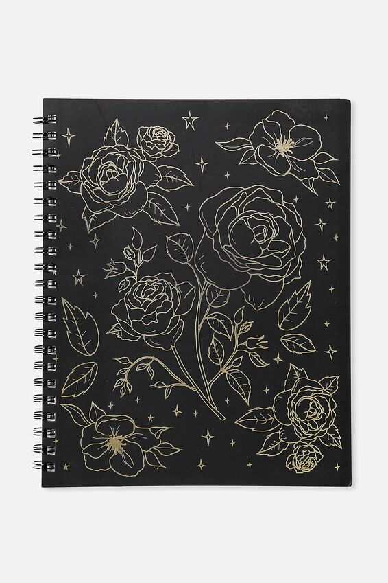 A4 Campus Notebook, BLACK FOIL FLORAL