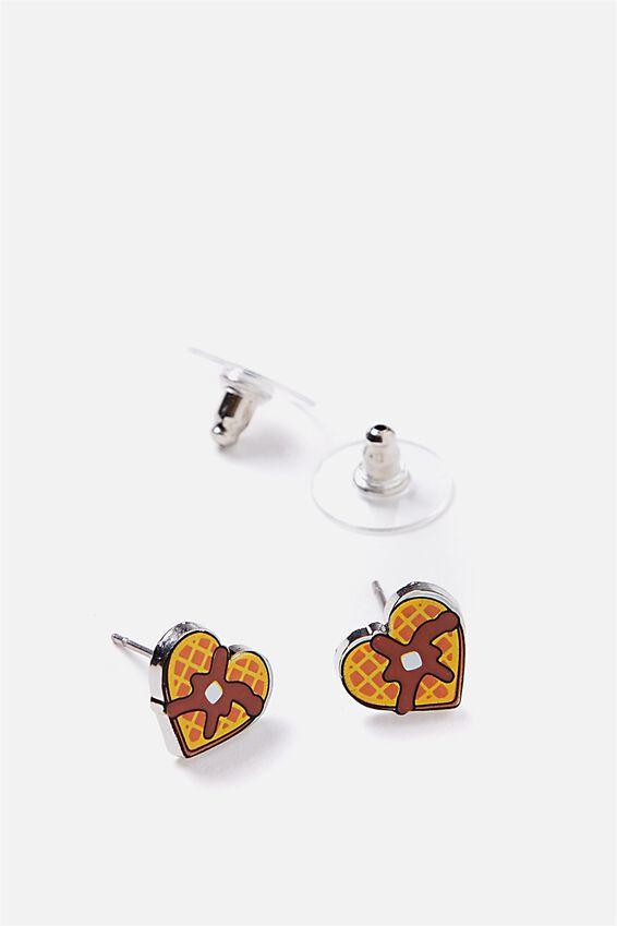 Novelty Earrings, WAFFLES