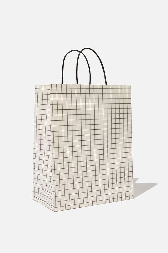Get Stuffed Gift Bag - Medium, WHITE BLACK GRID