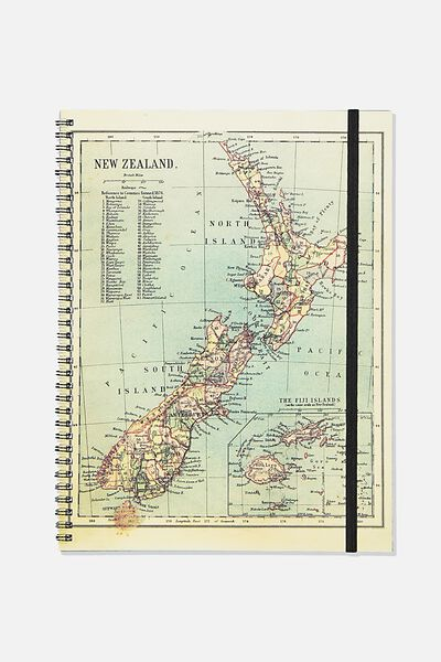 A4 Spinout Notebook Recycled, NEW ZEALAND MAP