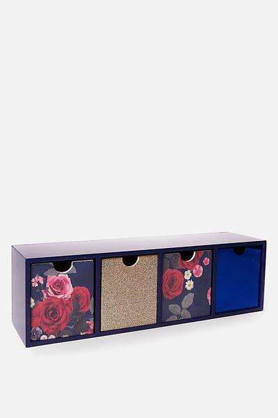 Quick Desk Drawer Storage, NAVY FLORAL