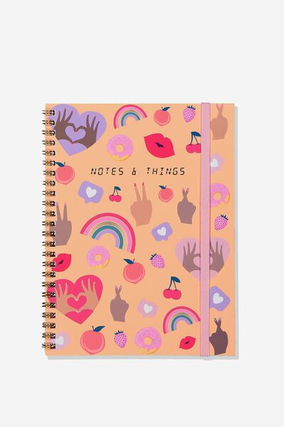 A5 Spinout Notebook - 120 Pages, PINK HANDS UP NOTE THINGS