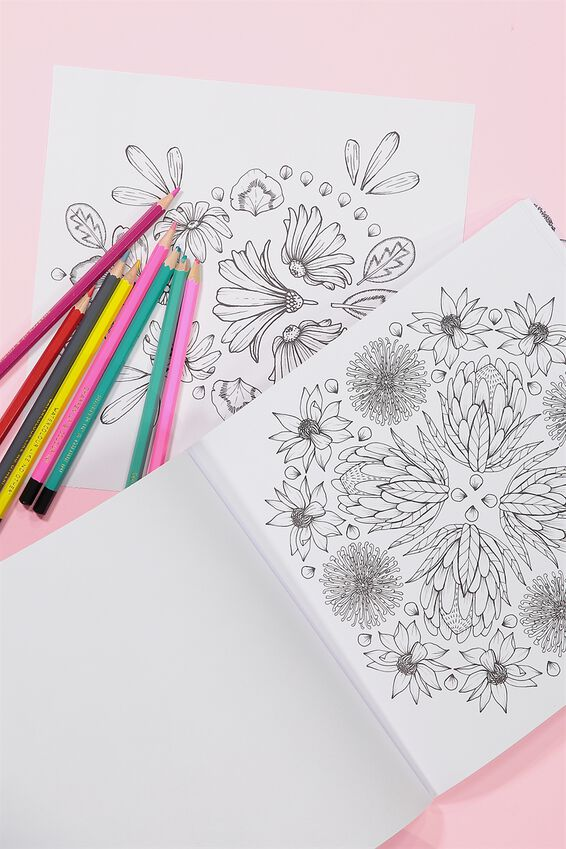 Between The Lines Colouring Book, FLORAL ZEN