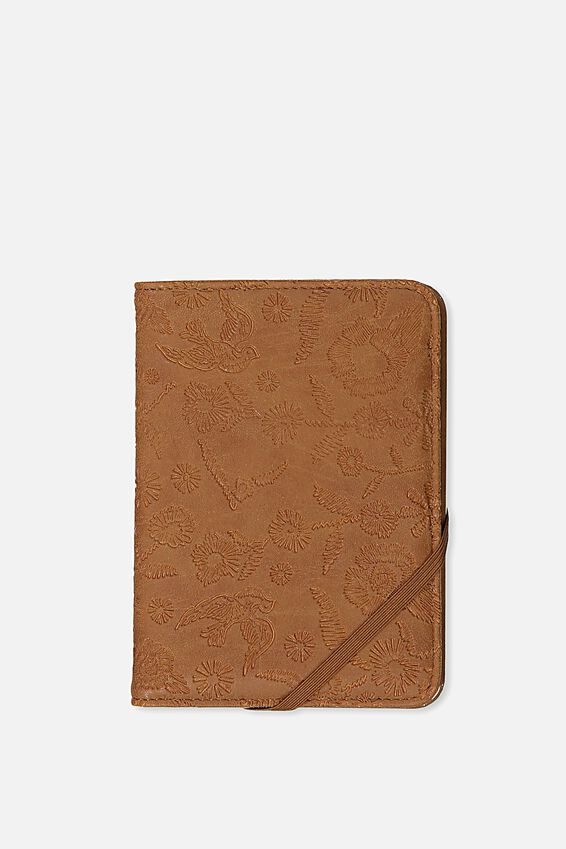 Passport Holder, MID TAN FLORAL