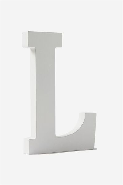 Letterpress Wooden Letter, WHITE L
