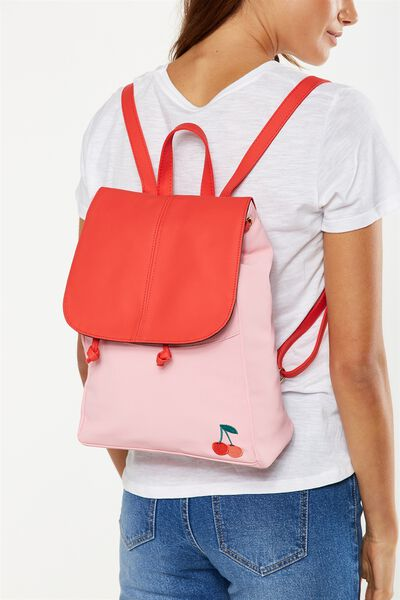 Fold Over Backpack, PINK & RED