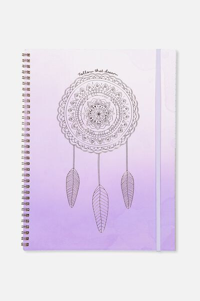 A4 Spinout Notebook - 120 Pages, PURPLE DREAMCATCHER