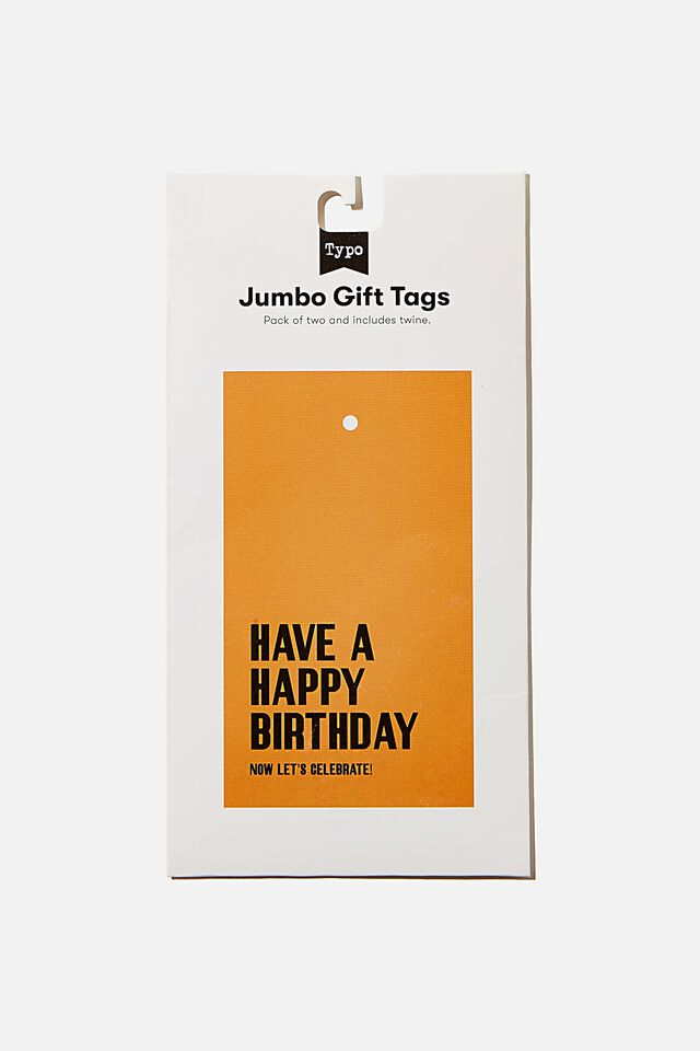 Jumbo Gift Tag Pack, LETS CELEBRATE MUSTARD