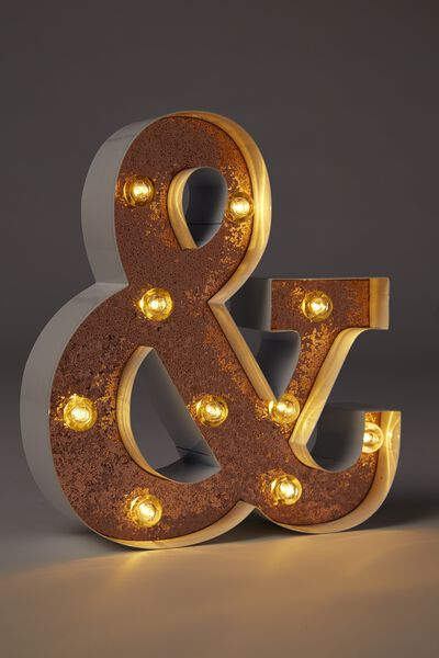 Small Letter Marquee Light, WHITE WITH ROSE GOLD GLITTER &