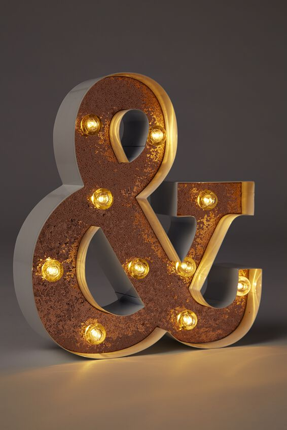 Small Marquee Letter Lights 23cm, WHITE WITH ROSE GOLD GLITTER &