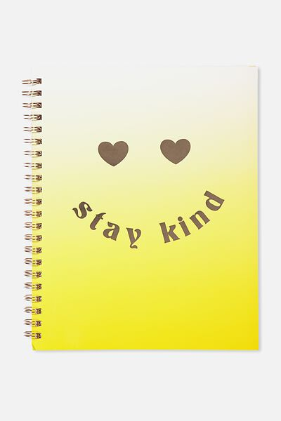 A4 Campus Notebook - 240 Pages, STAY KIND YELLOW OMBRE