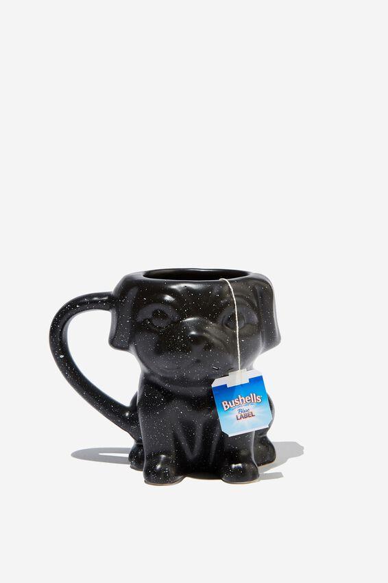 Novelty Shaped Mug, BLACK SPLATTER PUG