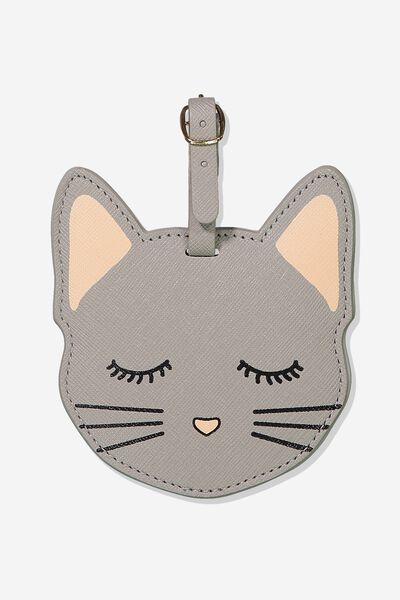 Shape Shifter Luggage Tag, GREY CAT