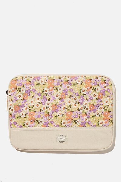 """Take Me Away 13"""" Laptop Case Canvas, PASTEL 70S DITSY WITH OFF WHITE SPLICE"""