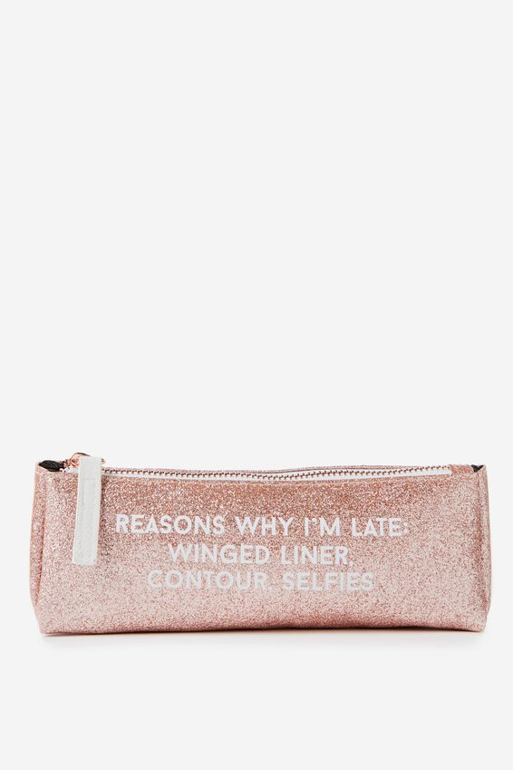 Make Up Brush Case, ROSE GOLD CONTOUR GLITTER QUOTE