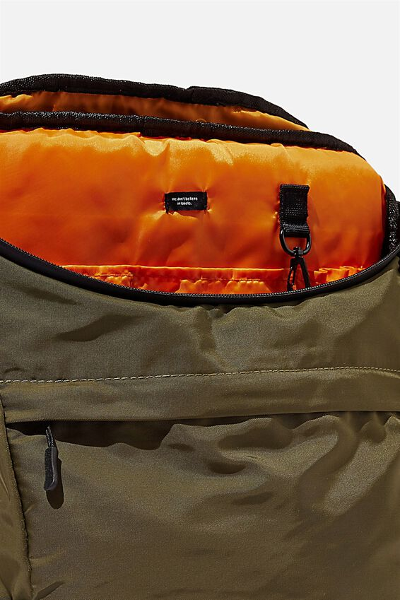Utility Recycled Backpack, KHAKI AND PAPAYA