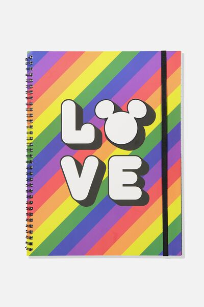 A4 Spinout Notebook - 120 Pages, LCN DIS MICKEY PRIDE LOVE