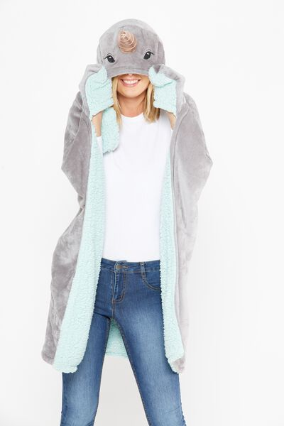 Novelty Hooded Blanket, NARWHAL