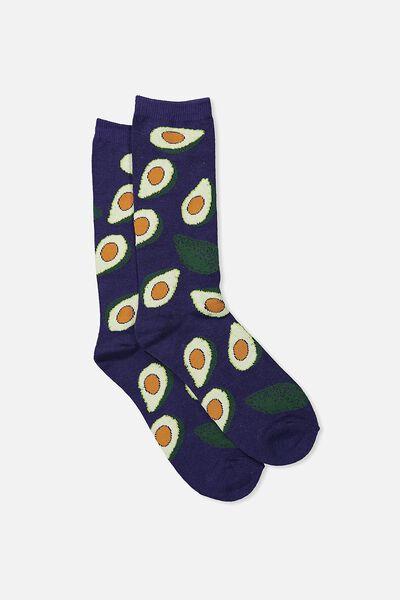 Mens Novelty Socks, BLUE AVO