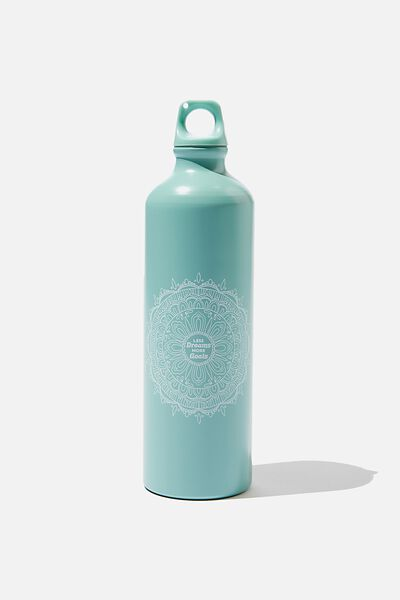Single Wall Metal Drink Bottle, LESS DREAMS MORE GOALS